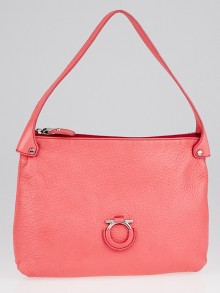 Salvatore Ferragamo Pink Textured Leather Small Shoulder Bag