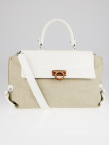 Salvatore Ferragamo White Leather and Natural Canvas Large Sofia Bag