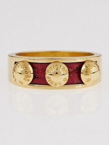 Louis Vuitton Red Leather and Metal Gimme a Clue Ring Size 6