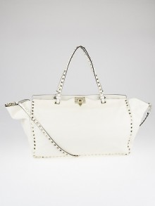 Valentino White Leather Rockstud Large Trapeze Tote Bag