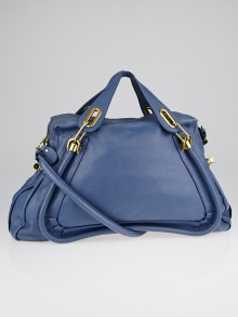 Chloe Scuba Blue Calfskin Leather Large Paraty Bag