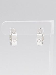 Cartier 18k White Gold and Diamond LOVE Hoop Earrings