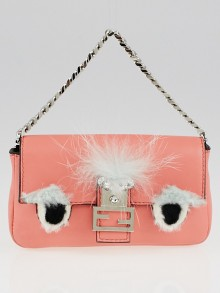 Fendi Peach Lambskin Leather and Fox Fur Micro Buggie Baguette Bag