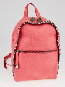 Stella McCartney Pink Shaggy Deer Faux Leather Falabella Mini Rucksack Bag