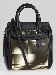 Alexander McQueen Black Leather Studded Mini Heroine Bag