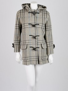 Burberry London Grey Check Wool Toggle Coat Size 14