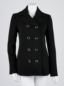 Gucci Black Polyester Blend Double Breasted Jacket Size 6/40