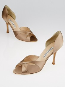 Manolo Blahnik Nude Satin Peep-Toe Pumps Size 10/40.5