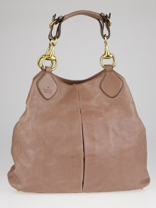 Gucci Pink Soft Calfskin Leather Horsebit Hobo Bag