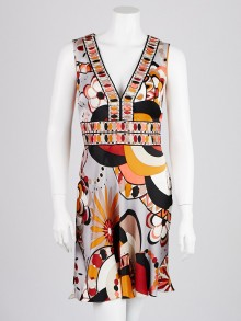 Emilio Pucci Orange Multicolor Silk Beaded Dress Size 4/38