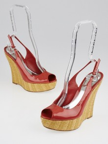 Gucci Coral Patent Leather 'Starfish' Raffia Wedges Size 6.5/37