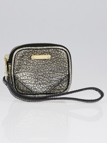 Burberry Silver Grained Leather Coin Purse