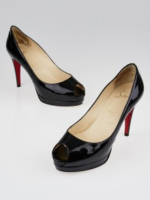 Christian Louboutin Black Patent Leather Altadama 100 Peep Toe Pumps Size 7.5/38