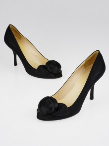 Prada Black Satin Rose Peep-Toe Pumps Size 7.5/38
