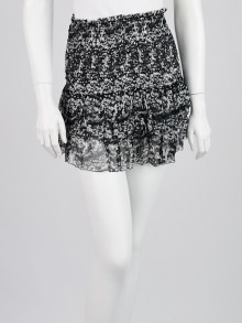 Isabel Marant Etoile Black/White Silk Tiered Mini Skirt Size 6/38