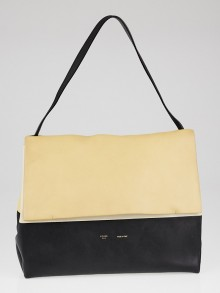 Celine Yellow/Black Calfskin Leather All Soft Shoulder Bag