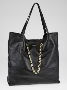 Lanvin Black Lambskin Leather Carry Me Medium Tote Bag