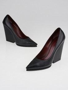 Celine Black Nappa Leather Pointed-Toe Wedges Size 8.5/39