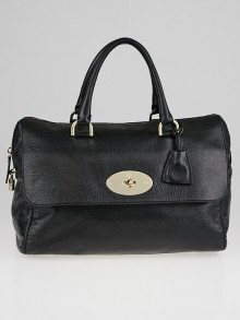 Mulberry Black Grained Leather Del Rey Satchel Bag