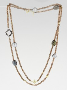 David Yurman 18k Gold with Pearls, Labradorite, and Diamonds DY Signature Bead Necklace