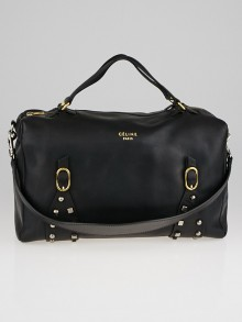 Celine Black Leather Studded Satchel Bag