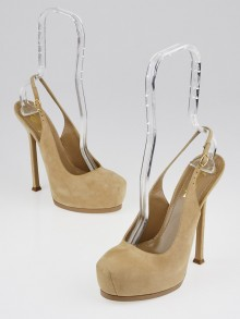 Yves Saint Laurent Nude Suede Tribtoo Slingback Pumps Size 6.5/37