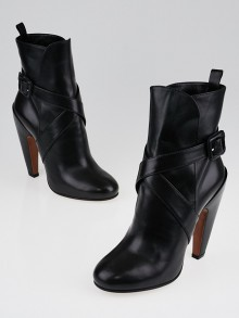 Alaïa Black Leather Buckle Ankle Boots Size 6.5/37