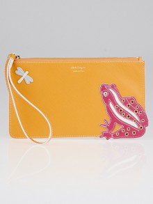 Salvatore Ferragamo Orange Saffiano Leather Frog Wristlet Bag
