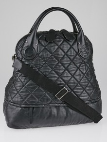 Chanel Black Quilted Coated Canvas Large Bowler Bag