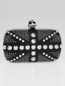 Alexander McQueen Black Leather Britannia Studded Skull Box Clutch Bag