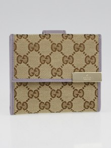 Gucci Beige/Ebony GG Canvas and Lavender Leather Detail French Flap Wallet