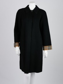 Burberry Black Wool Blend Long Coat Size 4/38