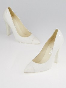Chanel White Cracked Leather Pointed Toe Pumps Size 6/36.5