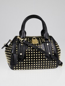 Burberry Black Studded Patent Leather Small Blaze Bowler Bag