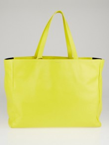 Yves Saint Laurent Yellow Leather and Black Canvas Reversible East-West Shopper Tote Bag