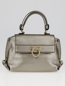 Salvatore Ferragamo Silver Metallic Leather Mini Sofia Bag