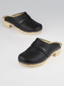 Chanel Black Leather Wooden Clogs Size 5.5/36