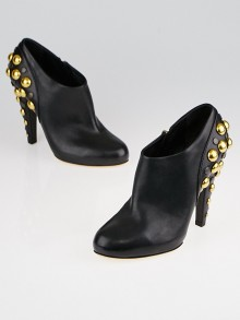 Gucci Black Leather Babouska Studded Booties 7.5/38