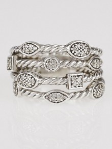 David Yurman Sterling Silver and Diamond Four-Row Confetti Ring Size 8