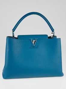 Louis Vuitton Bleu Canard Taurillon Leather Capucines MM Bag