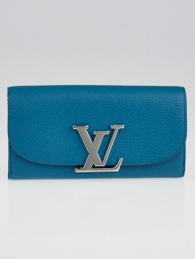 Louis Vuitton Bleu Canard Parnassea  Leather Vivienne LV Long Wallet