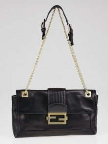 Fendi Black Leather Baguette Chain Flap Bag 8BT139