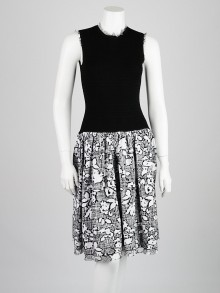 Oscar de la Renta Black/White Knit Etched Rose Dress Size XS