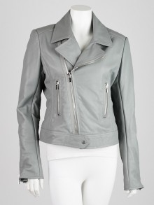 Balenciaga Grey Lambskin Leather Classic Biker Jacket Size 12/44