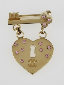 Chanel Goldtone and Crystals CC Dangling Heart Brooch