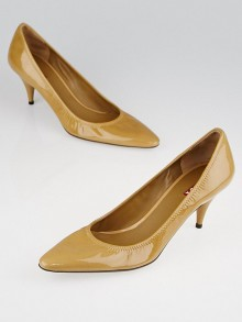 Prada Beige Patent Leather Pointed Toe Pumps Size 9.5/40