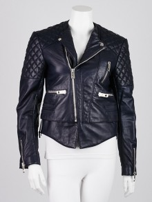 Balenciaga Navy Blue Quilted Lambskin Leather Biker Jacket Size 8/40