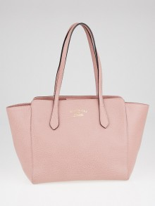 Gucci Pink Pebbled Leather Small Swing Tote Bag