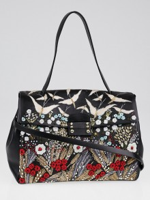 Valentino Black Leather Beaded Garden Couture Single Handle Bag