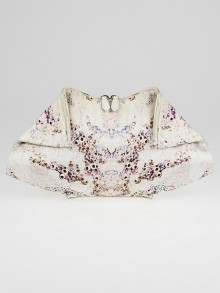 Alexander McQueen White/Pink Printed Silk Barnacle De Manta Clutch Bag